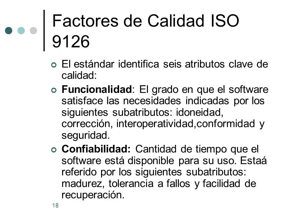 18 Factores de Calidad ISO 9126 El estándar identifica seis atributos clave de calidad: Funcionalidad: El grado en que el software satisface las necesidades indicadas por los siguientes subatributos: idoneidad, corrección, interoperatividad,conformidad y seguridad.