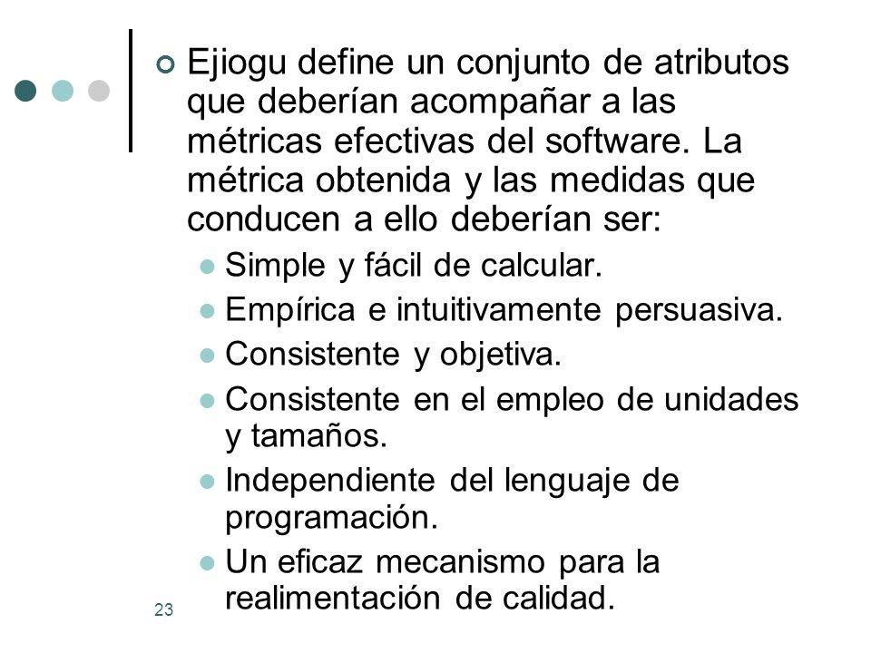 23 Ejiogu define un conjunto de atributos que deberían acompañar a las métricas efectivas del software.