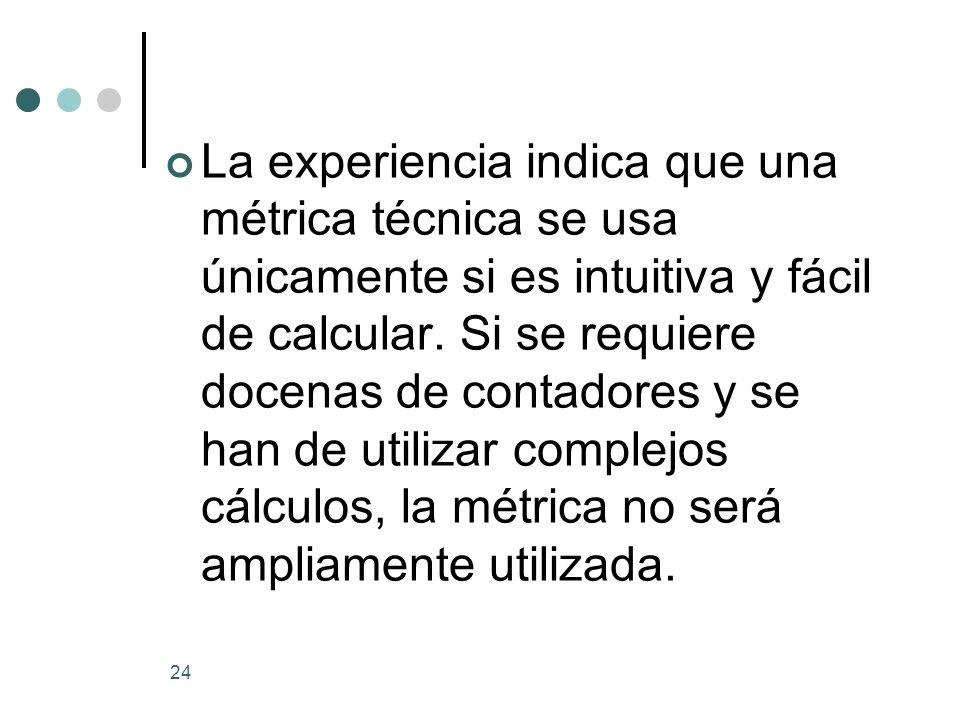 24 La experiencia indica que una métrica técnica se usa únicamente si es intuitiva y fácil de calcular.