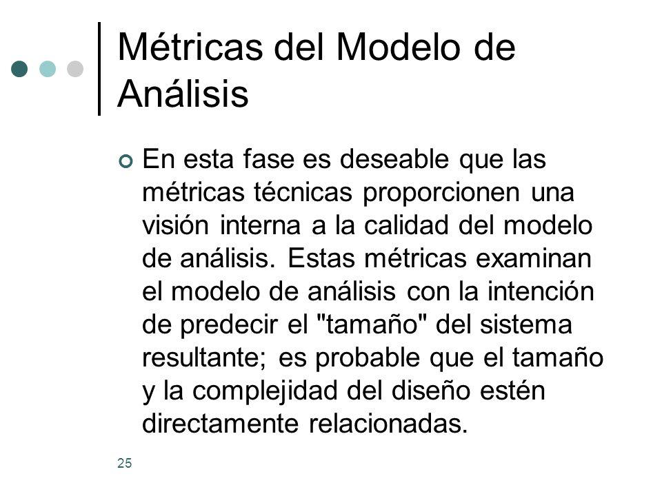 25 Métricas del Modelo de Análisis En esta fase es deseable que las métricas técnicas proporcionen una visión interna a la calidad del modelo de análisis.