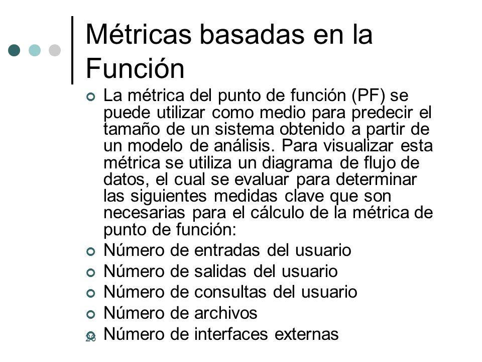 26 Métricas basadas en la Función La métrica del punto de función (PF) se puede utilizar como medio para predecir el tamaño de un sistema obtenido a partir de un modelo de análisis.