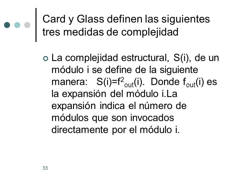 33 Card y Glass definen las siguientes tres medidas de complejidad La complejidad estructural, S(i), de un módulo i se define de la siguiente manera: S(i)=f 2 out (i).