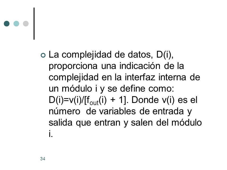 34 La complejidad de datos, D(i), proporciona una indicación de la complejidad en la interfaz interna de un módulo i y se define como: D(i)=v(i)/[f out (i) + 1].