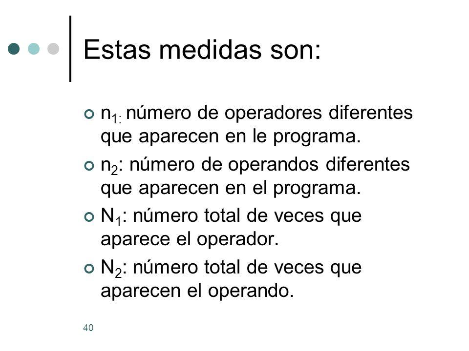 40 Estas medidas son: n 1: número de operadores diferentes que aparecen en le programa. n 2 : número de operandos diferentes que aparecen en el progra