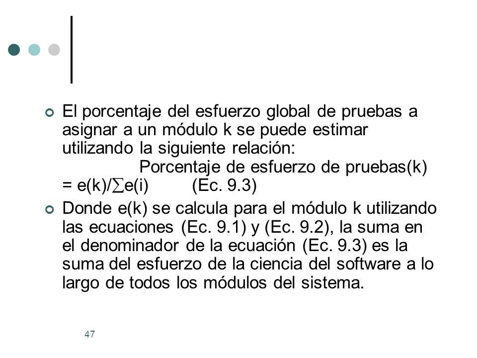 47 El porcentaje del esfuerzo global de pruebas a asignar a un módulo k se puede estimar utilizando la siguiente relación: Porcentaje de esfuerzo de pruebas(k) = e(k)/ e(i) (Ec.