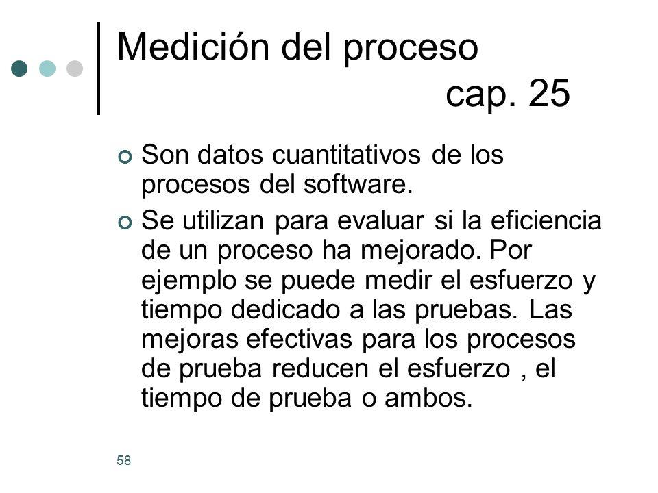 58 Medición del proceso cap.25 Son datos cuantitativos de los procesos del software.
