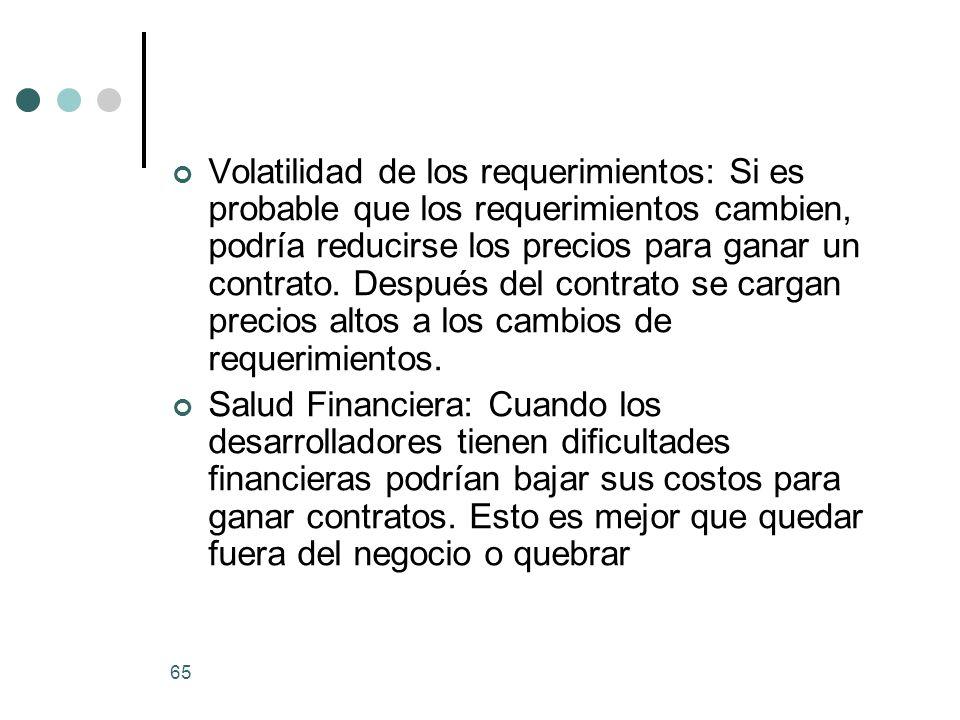65 Volatilidad de los requerimientos: Si es probable que los requerimientos cambien, podría reducirse los precios para ganar un contrato.