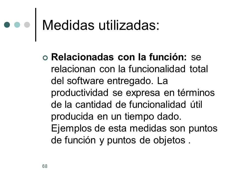 68 Medidas utilizadas: Relacionadas con la función: se relacionan con la funcionalidad total del software entregado.