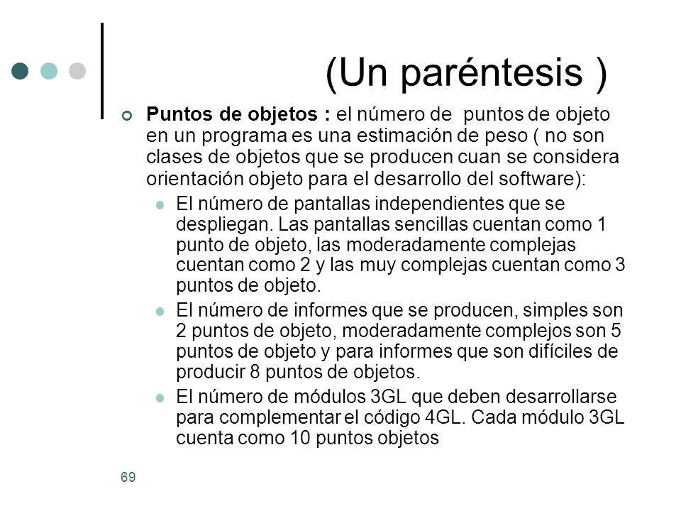 69 (Un paréntesis ) Puntos de objetos : el número de puntos de objeto en un programa es una estimación de peso ( no son clases de objetos que se producen cuan se considera orientación objeto para el desarrollo del software): El número de pantallas independientes que se despliegan.