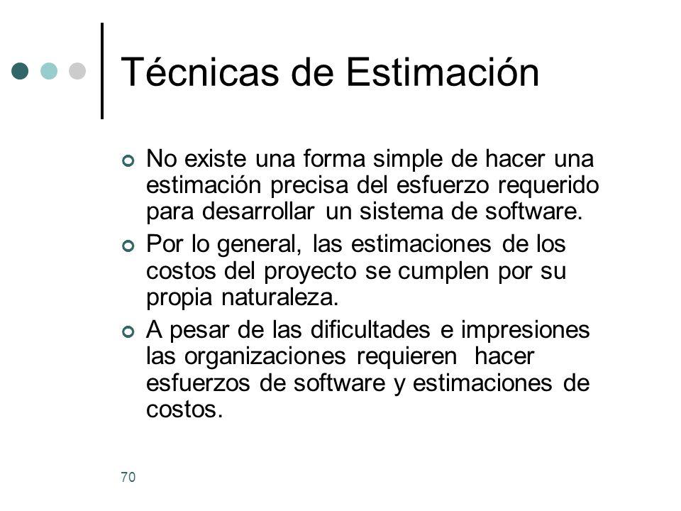 70 Técnicas de Estimación No existe una forma simple de hacer una estimación precisa del esfuerzo requerido para desarrollar un sistema de software.