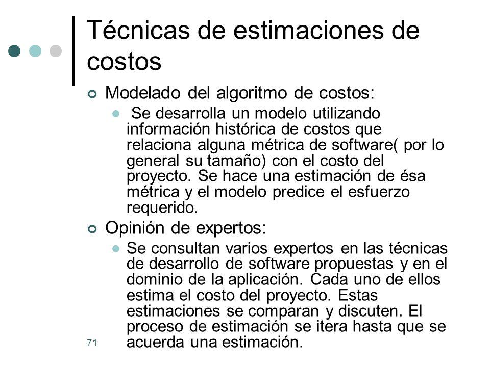 71 Técnicas de estimaciones de costos Modelado del algoritmo de costos: Se desarrolla un modelo utilizando información histórica de costos que relaciona alguna métrica de software( por lo general su tamaño) con el costo del proyecto.