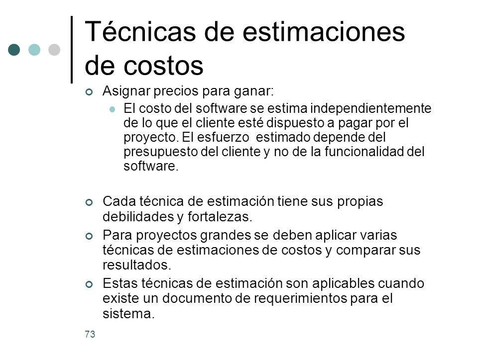 73 Asignar precios para ganar: El costo del software se estima independientemente de lo que el cliente esté dispuesto a pagar por el proyecto.