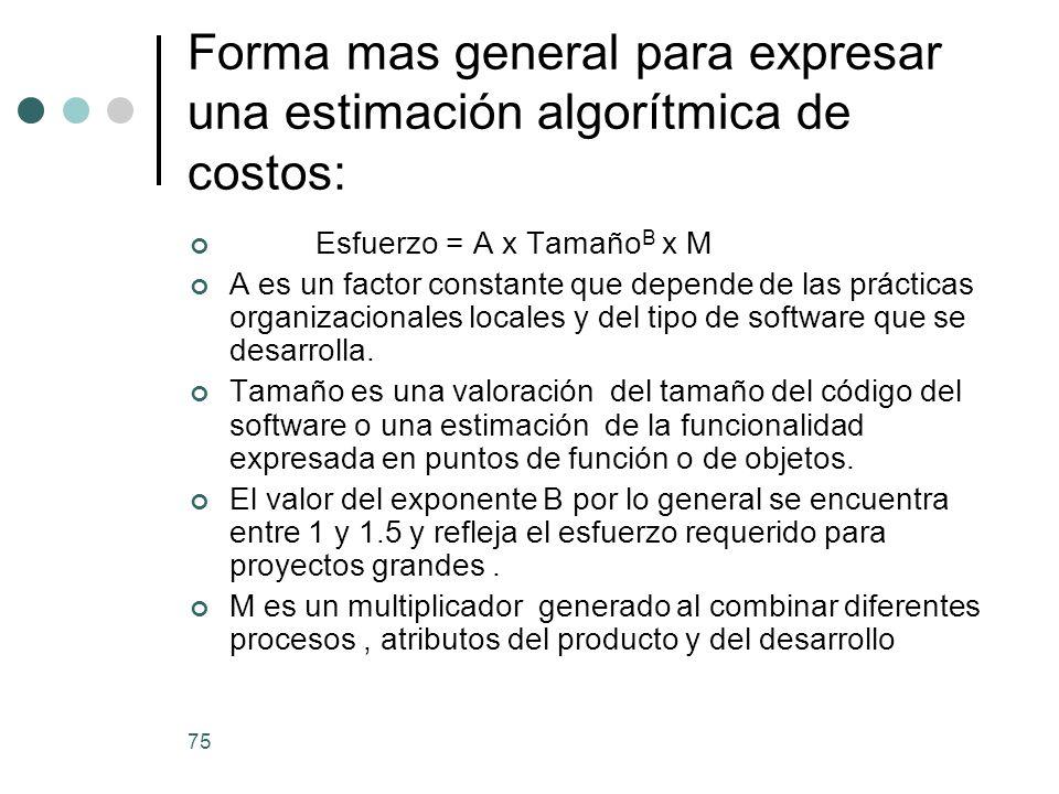 75 Forma mas general para expresar una estimación algorítmica de costos: Esfuerzo = A x Tamaño B x M A es un factor constante que depende de las prácticas organizacionales locales y del tipo de software que se desarrolla.