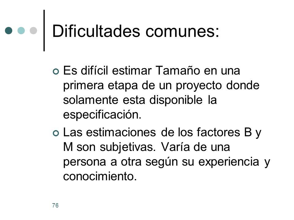 76 Dificultades comunes: Es difícil estimar Tamaño en una primera etapa de un proyecto donde solamente esta disponible la especificación.