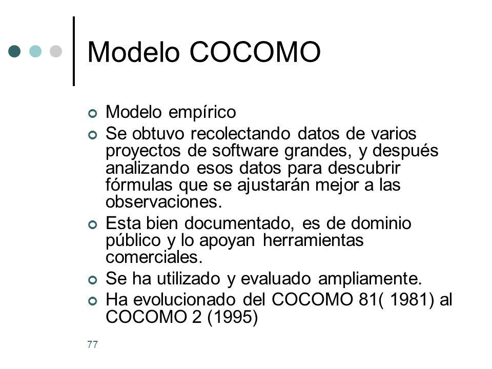 77 Modelo COCOMO Modelo empírico Se obtuvo recolectando datos de varios proyectos de software grandes, y después analizando esos datos para descubrir fórmulas que se ajustarán mejor a las observaciones.