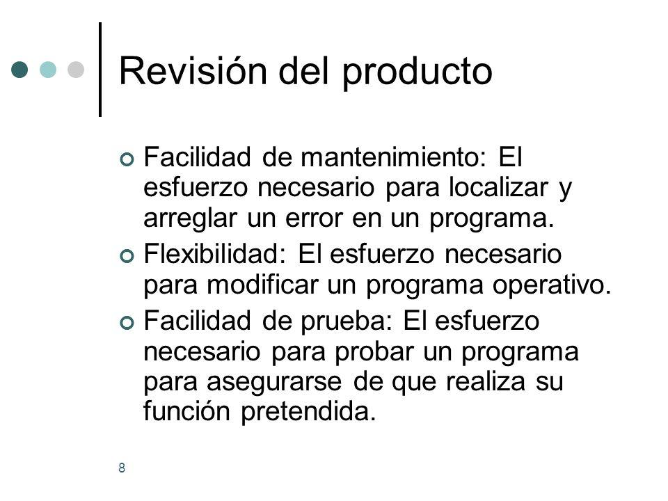8 Revisión del producto Facilidad de mantenimiento: El esfuerzo necesario para localizar y arreglar un error en un programa.
