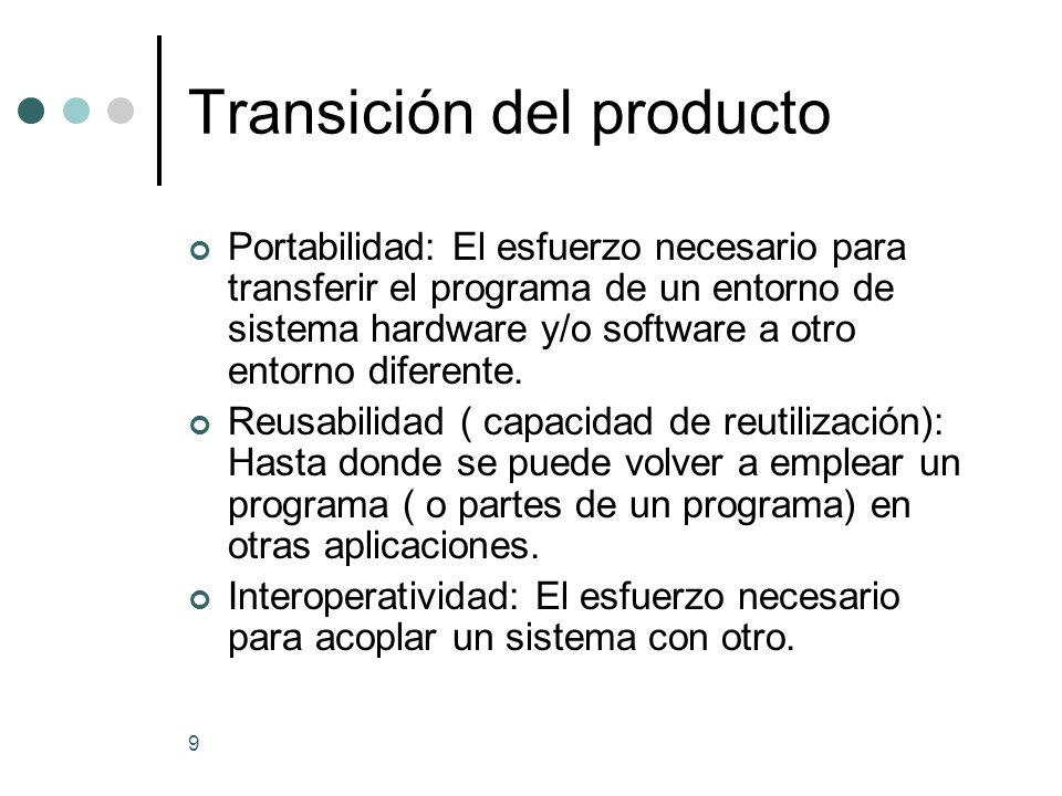 9 Transición del producto Portabilidad: El esfuerzo necesario para transferir el programa de un entorno de sistema hardware y/o software a otro entorno diferente.