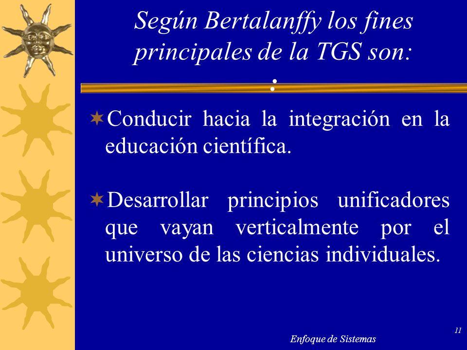 Enfoque de Sistemas 11 Conducir hacia la integración en la educación científica. Desarrollar principios unificadores que vayan verticalmente por el un