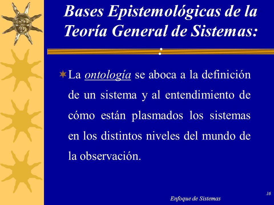 Enfoque de Sistemas 16 La ontología se aboca a la definición de un sistema y al entendimiento de cómo están plasmados los sistemas en los distintos ni
