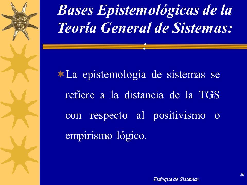 Enfoque de Sistemas 20 La epistemología de sistemas se refiere a la distancia de la TGS con respecto al positivismo o empirismo lógico. Bases Epistemo