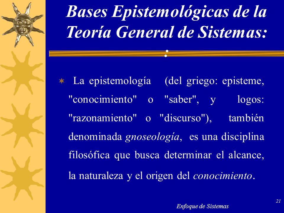Enfoque de Sistemas 21 La epistemología (del griego: episteme,