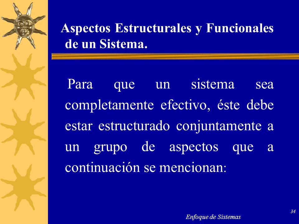 Enfoque de Sistemas 34 Aspectos Estructurales y Funcionales de un Sistema. Para que un sistema sea completamente efectivo, éste debe estar estructurad