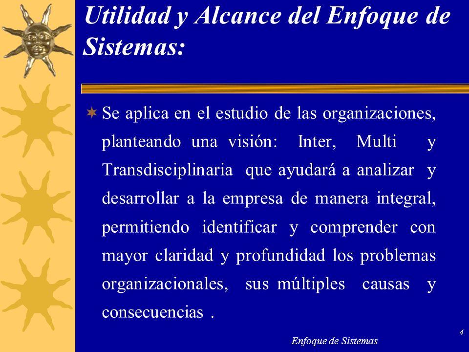 Enfoque de Sistemas 4 Utilidad y Alcance del Enfoque de Sistemas: Se aplica en el estudio de las organizaciones, planteando una visión: Inter, Multi y
