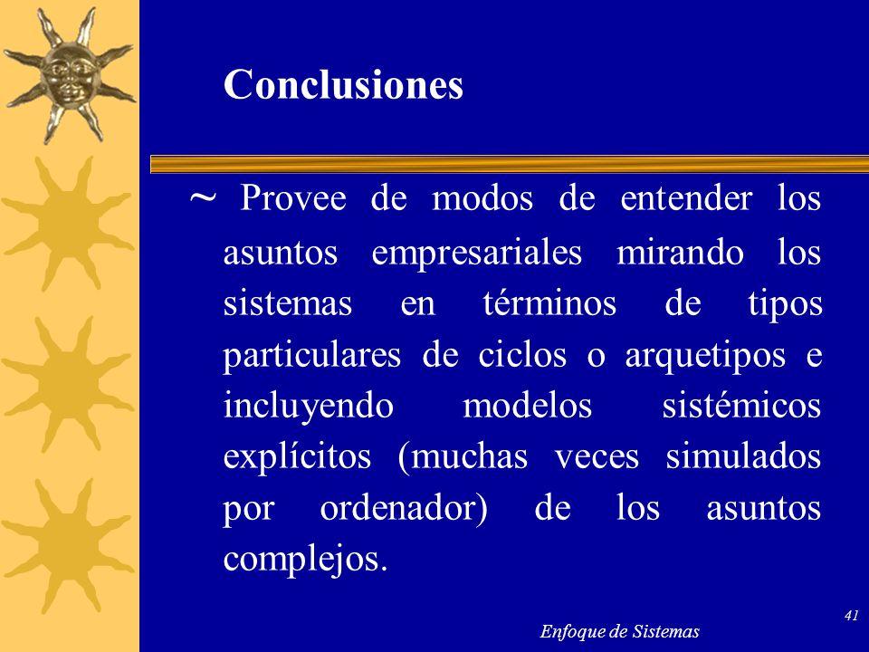 Enfoque de Sistemas 41 Conclusiones ~ Provee de modos de entender los asuntos empresariales mirando los sistemas en términos de tipos particulares de