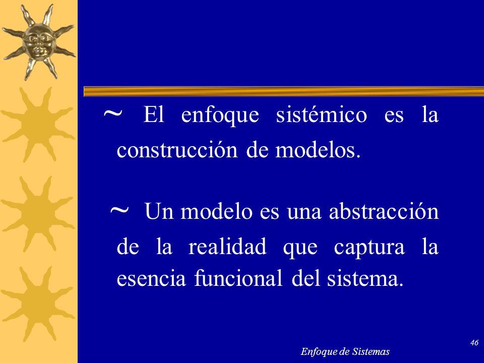 Enfoque de Sistemas 46 ~ El enfoque sistémico es la construcción de modelos. ~ Un modelo es una abstracción de la realidad que captura la esencia func