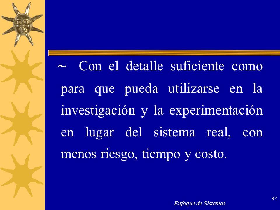 Enfoque de Sistemas 47 ~ Con el detalle suficiente como para que pueda utilizarse en la investigación y la experimentación en lugar del sistema real,