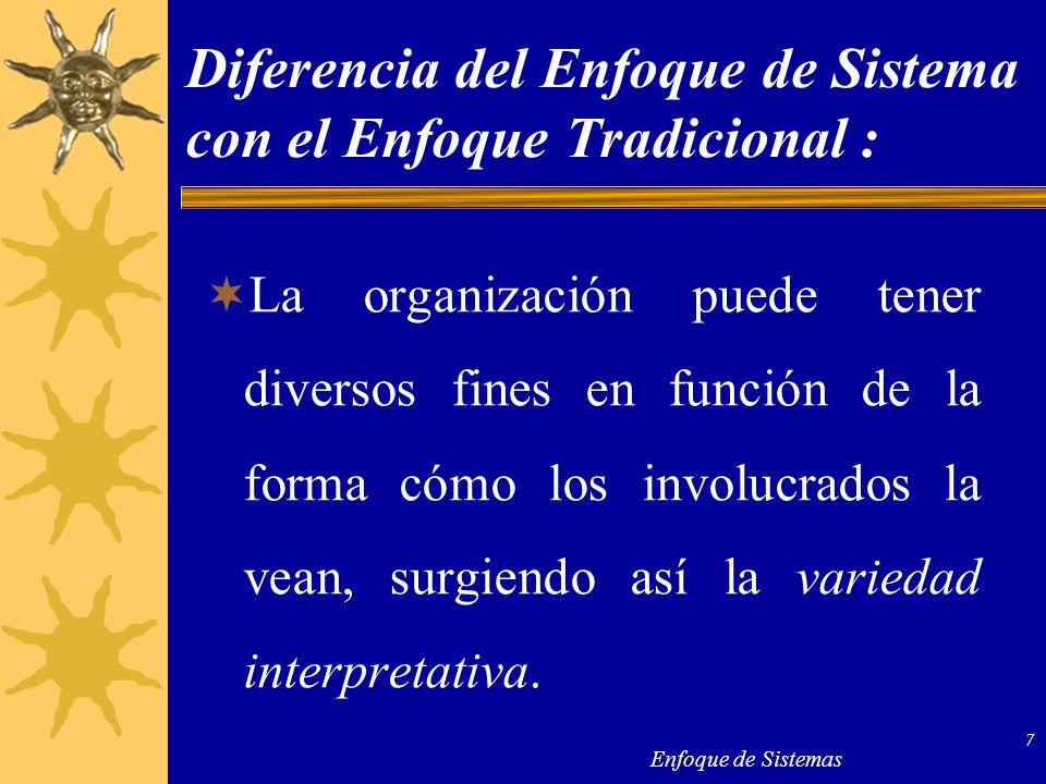 Enfoque de Sistemas 7 Diferencia del Enfoque de Sistema con el Enfoque Tradicional : La organización puede tener diversos fines en función de la forma