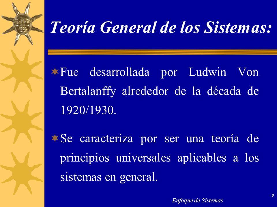 Enfoque de Sistemas 9 Teoría General de los Sistemas: Fue desarrollada por Ludwin Von Bertalanffy alrededor de la década de 1920/1930. Se caracteriza