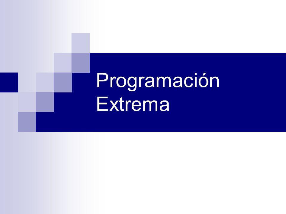 Referencias http://www.extremeprogramming.org/ http://www.programacionextrema.org/ http://www.jera.com/techinfo/xpfaq.html http://c2.com/cgi/wiki?ExtremeProgrammingRoadmap http://clabs.org/caseforxp.htm http://ootips.org/xp.html http://www.bobjectsinc.com/cstug/xpslides/ http://www.xp123.com/ http://c2.com/cgi/wiki?XpGlossary