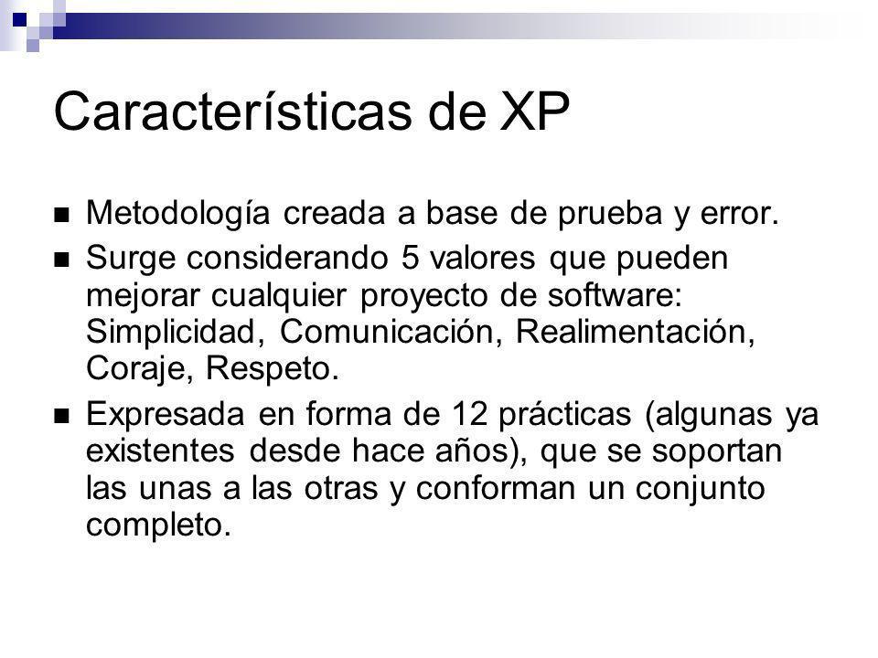 Características de XP Metodología creada a base de prueba y error. Surge considerando 5 valores que pueden mejorar cualquier proyecto de software: Sim
