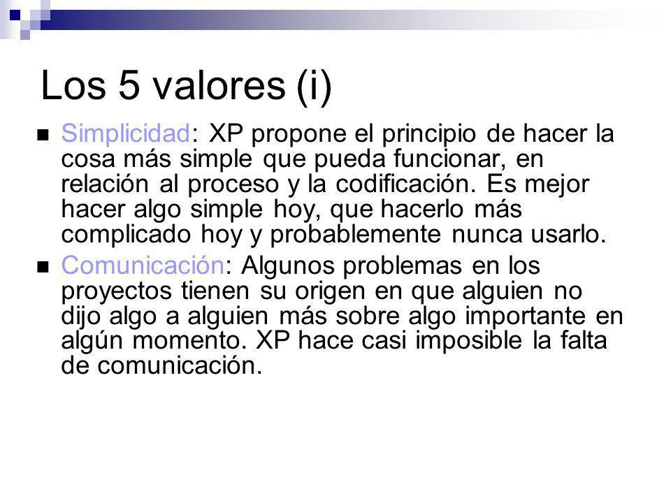 Los 5 valores (i) Simplicidad: XP propone el principio de hacer la cosa más simple que pueda funcionar, en relación al proceso y la codificación. Es m