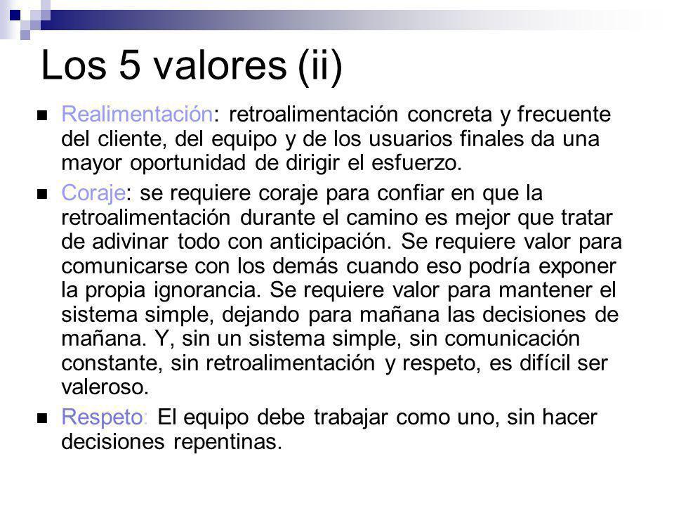 Los 5 valores (ii) Realimentación: retroalimentación concreta y frecuente del cliente, del equipo y de los usuarios finales da una mayor oportunidad d