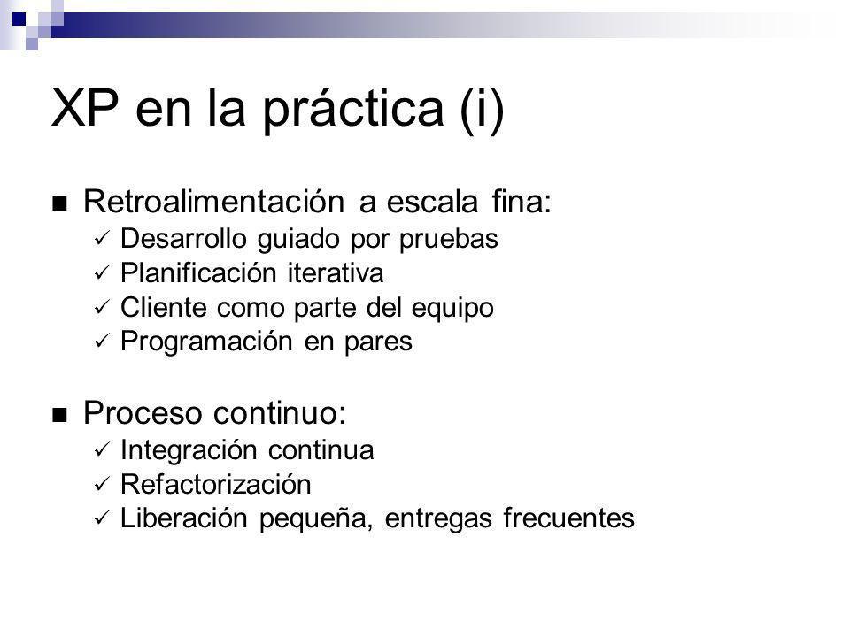 XP en la práctica (i) Retroalimentación a escala fina: Desarrollo guiado por pruebas Planificación iterativa Cliente como parte del equipo Programació