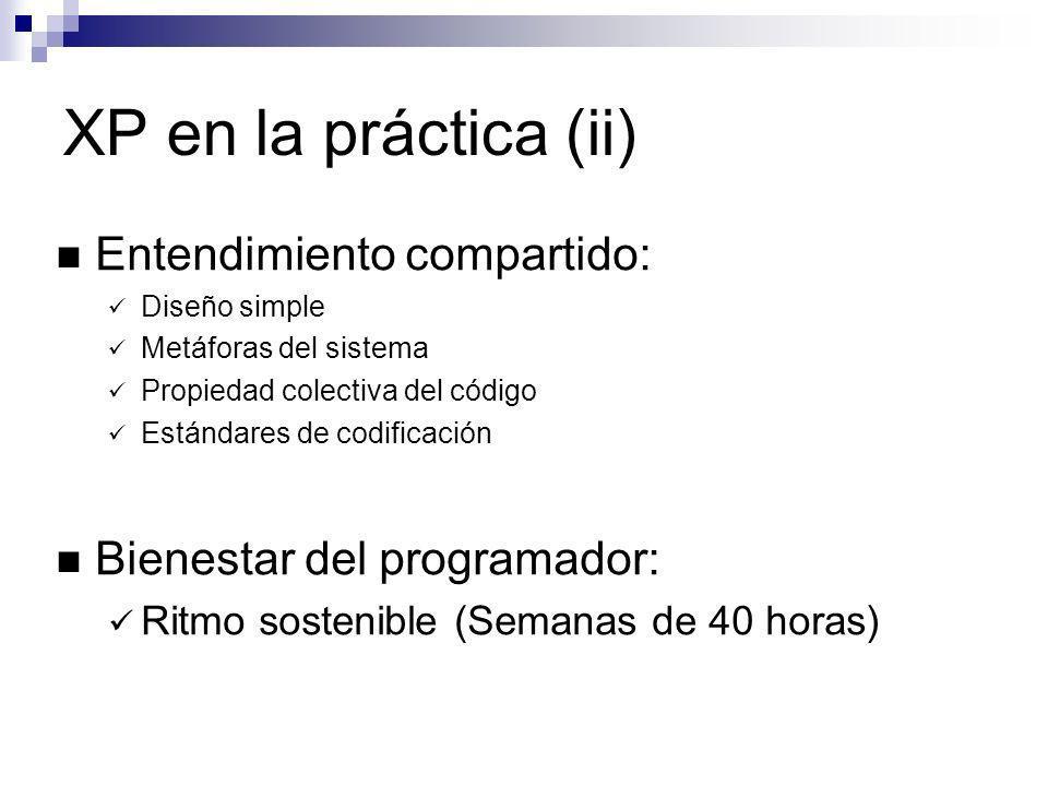 XP en la práctica (ii) Entendimiento compartido: Diseño simple Metáforas del sistema Propiedad colectiva del código Estándares de codificación Bienest