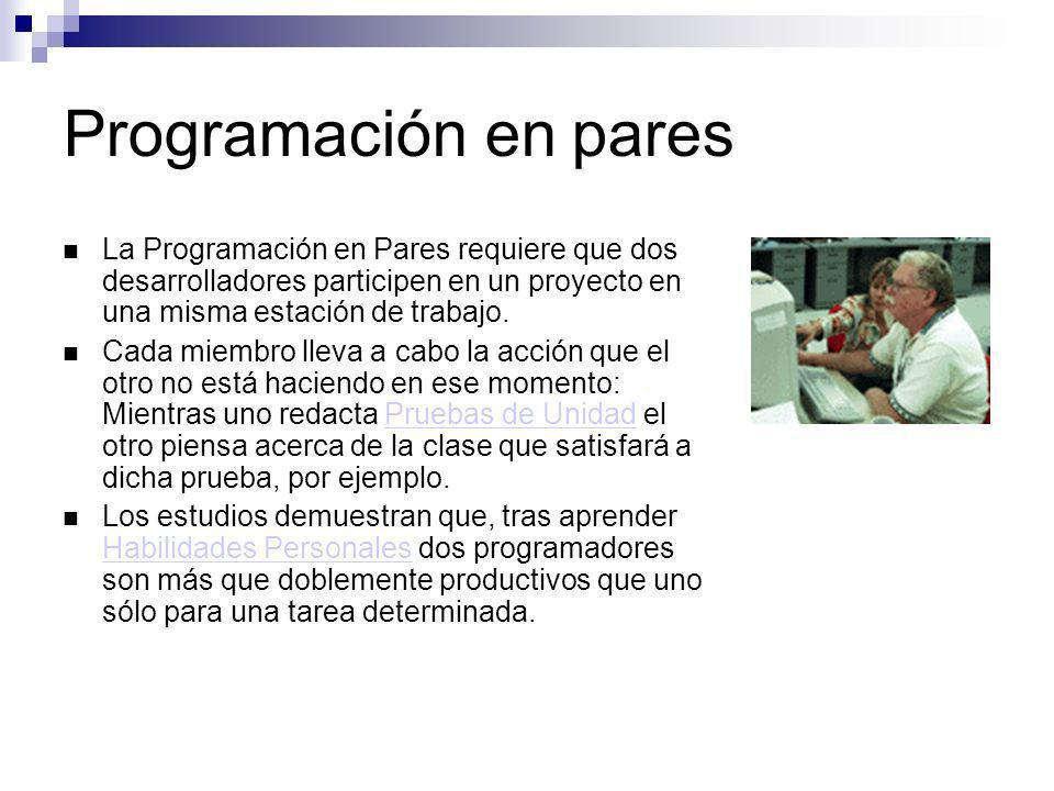 Programación en pares La Programación en Pares requiere que dos desarrolladores participen en un proyecto en una misma estación de trabajo. Cada miemb