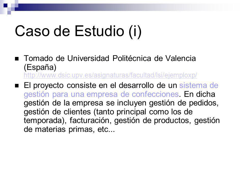 Caso de Estudio (i) Tomado de Universidad Politécnica de Valencia (España) http://www.dsic.upv.es/asignaturas/facultad/lsi/ejemploxp/ http://www.dsic.