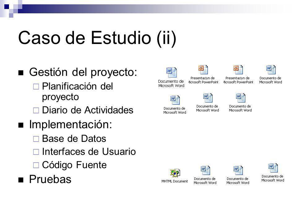Caso de Estudio (ii) Gestión del proyecto: Planificación del proyecto Diario de Actividades Implementación: Base de Datos Interfaces de Usuario Código