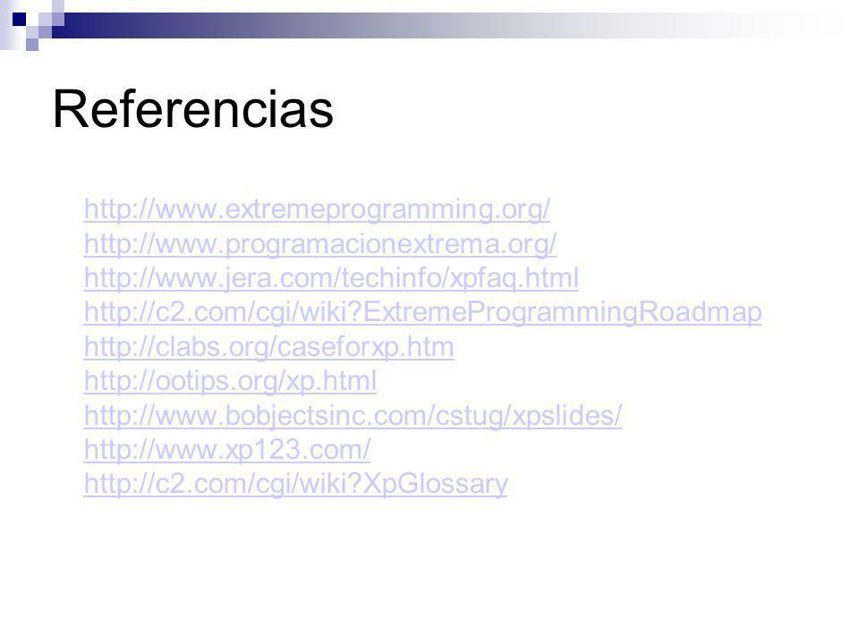 Referencias http://www.extremeprogramming.org/ http://www.programacionextrema.org/ http://www.jera.com/techinfo/xpfaq.html http://c2.com/cgi/wiki?Extr