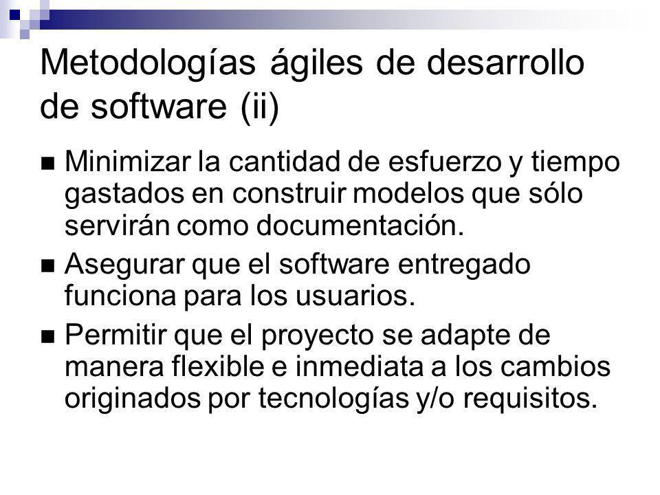 Metodologías ágiles de desarrollo de software (ii) Minimizar la cantidad de esfuerzo y tiempo gastados en construir modelos que sólo servirán como doc