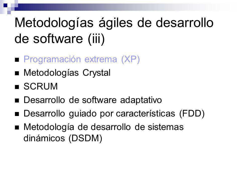 Metodologías ágiles de desarrollo de software (iii) Programación extrema (XP) Metodologías Crystal SCRUM Desarrollo de software adaptativo Desarrollo