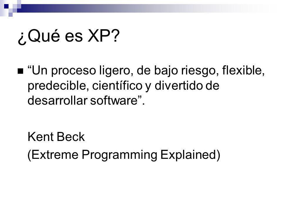 ¿Qué es XP? Un proceso ligero, de bajo riesgo, flexible, predecible, científico y divertido de desarrollar software. Kent Beck (Extreme Programming Ex
