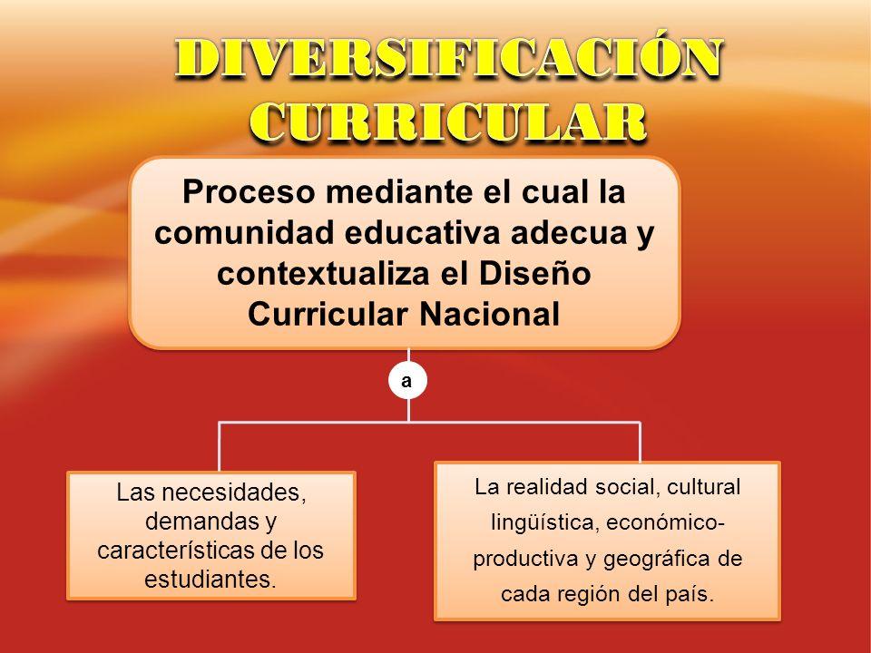 Proceso mediante el cual la comunidad educativa adecua y contextualiza el Diseño Curricular Nacional La realidad social, cultural lingüística, económi