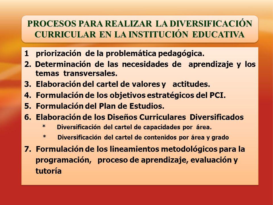 PROCESOS PARA REALIZAR LA DIVERSIFICACIÓN CURRICULAR EN LA INSTITUCIÓN EDUCATIVA 1. priorización de la problemática pedagógica. 2. Determinación de la