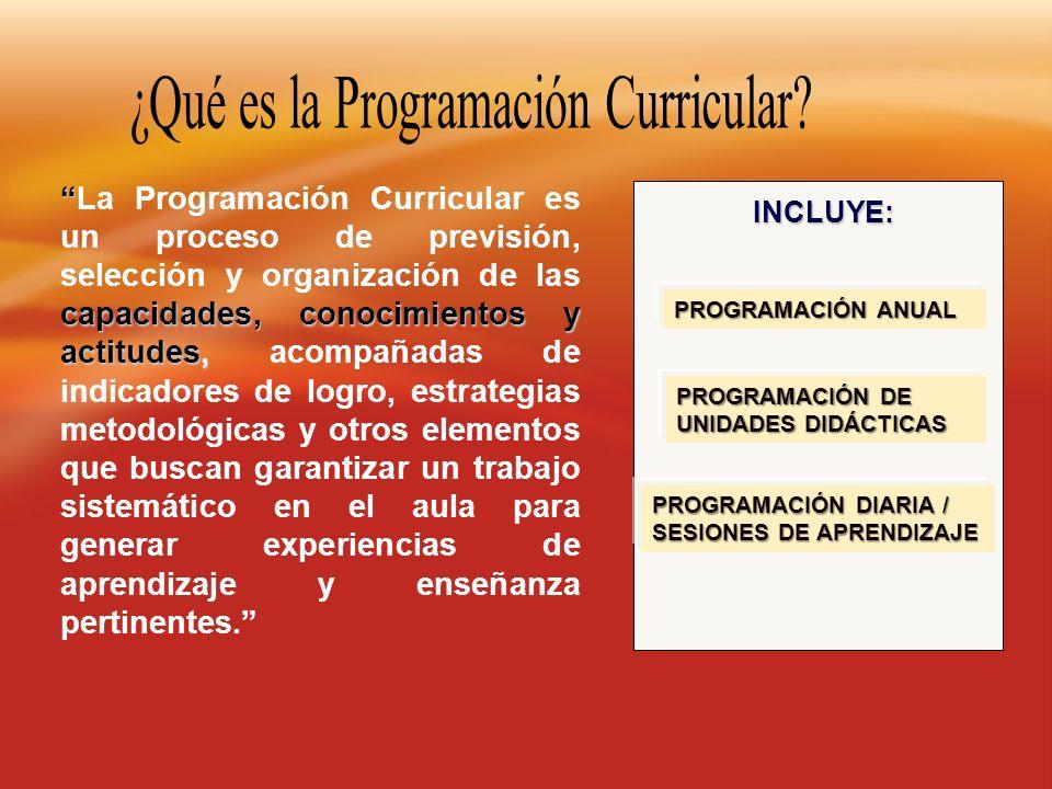capacidades, conocimientos y actitudes,La Programación Curricular es un proceso de previsión, selección y organización de las capacidades, conocimient