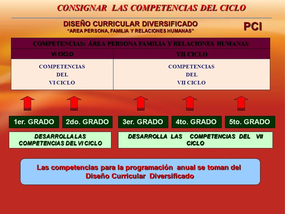 CONSIGNAR LAS COMPETENCIAS DEL CICLO DISEÑO CURRICULAR DIVERSIFICADO AREA PERSONA, FAMILIA Y RELACIONES HUMANAS COMPETENCIAS: ÁREA PERSONA FAMILIA Y R
