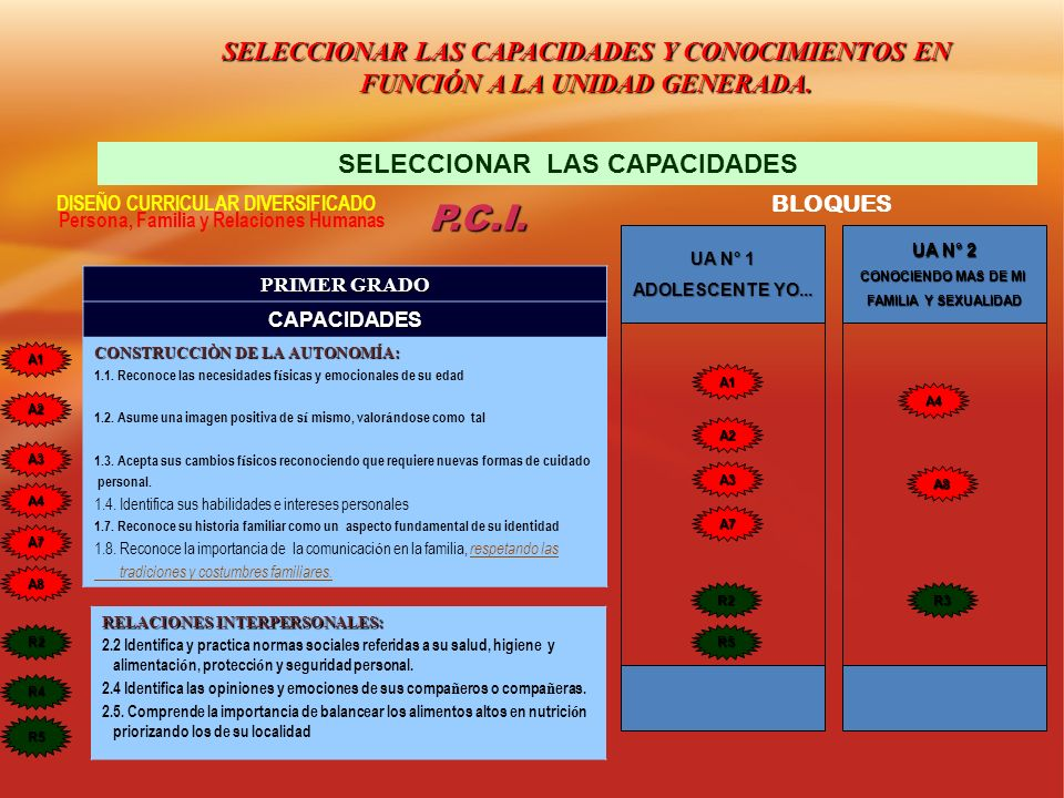 SELECCIONAR LAS CAPACIDADES Y CONOCIMIENTOS EN FUNCIÓN A LA UNIDAD GENERADA. SELECCIONAR LAS CAPACIDADES DISEÑO CURRICULAR DIVERSIFICADO Persona, Fami